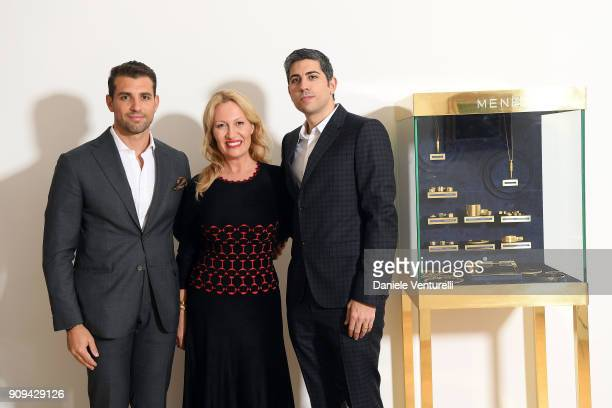 Tommy Chiabra Diana WidmaierPicasso and Roy Sebag attend Mene 24 Karat Jewelry Presentation at Gagosian Gallery on January 23 2018 in Paris France