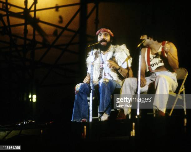 Tommy Chong and Cheech Marin of the comedy duo 'Cheech and Chong' performing at the Los Angeles Coliseum in California on April 7 1979