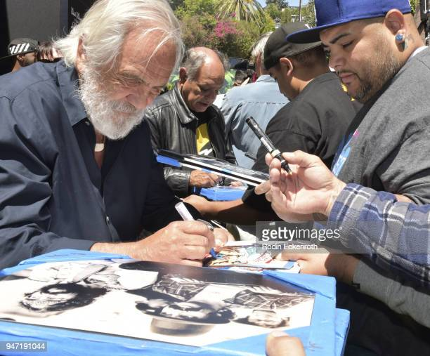 Tommy Chong and Cheech Marin sign autographs for fans at the Key to The City of West Hollywood Award Ceremony at The Roxy Theatre on April 16 2018 in...
