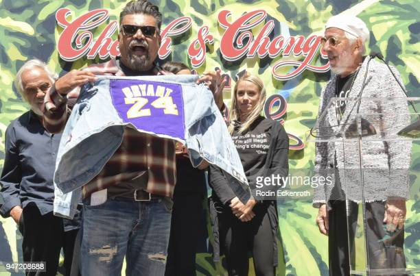 Tommy Chong George Lopez and Lou Adler speak onstage at the Key to The City of West Hollywood Award Ceremony at The Roxy Theatre on April 16 2018 in...