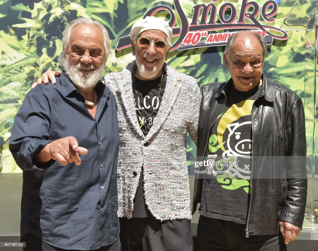 Tommy Chong, Lou Adler, and Cheech Marin pose for portrait at the Key to The City of West Hollywood Award Ceremony at The Roxy Theatre on April 16, 2018 in West Hollywood, California.