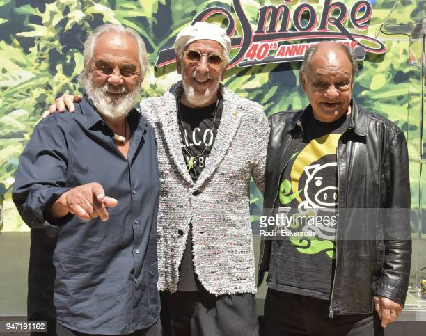 Tommy Chong Lou Adler and Cheech Marin pose for portrait at the Key to The City of West Hollywood Award Ceremony at The Roxy Theatre on April 16 2018...