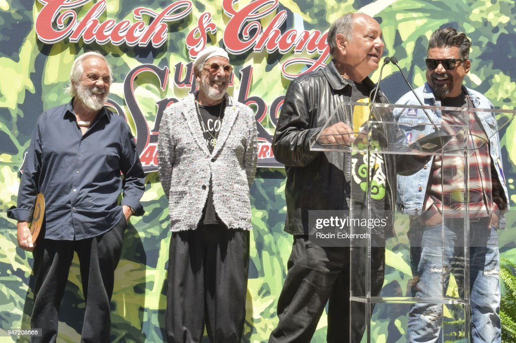 Tommy Chong, Lou Adler, Cheech Marin, and George Lopez speak onstage at the Key to The City of West Hollywood Award Ceremony at The Roxy Theatre on April 16, 2018 in West Hollywood, California.