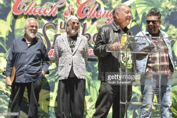 Tommy Chong Lou Adler Cheech Marin and George Lopez speak onstage at the Key to The City of West Hollywood Award Ceremony at The Roxy Theatre on...