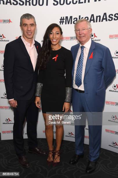 Tommy Clark Christen Press and Sir Alex Ferguson attend the World Aids Day Charity Gala aimed at using football to educate and inspire vulnerable...