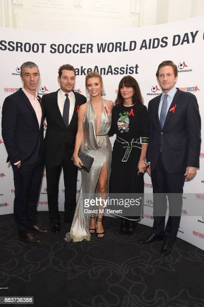 Tommy Clark Seb Bishop Rachel Riley Davina McCall and Gregg Lemkau attend the World Aids Day Charity Gala aimed at using football to educate and...