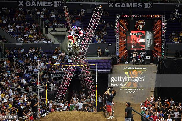 Tommy Clowers jumps in the Moto X Step Up competition during the ESPN XGames on August 6 2004 at the Staples Center in Los Angeles California USA...