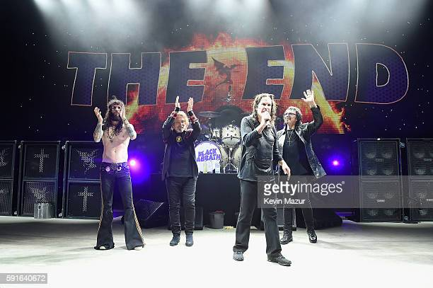 Tommy Clufetos Geezer Butler Ozzy Osbourne and Tony Iommi perform onstage as Black Sabbath on The End Tour at Nikon at Jones Beach Theater on August...
