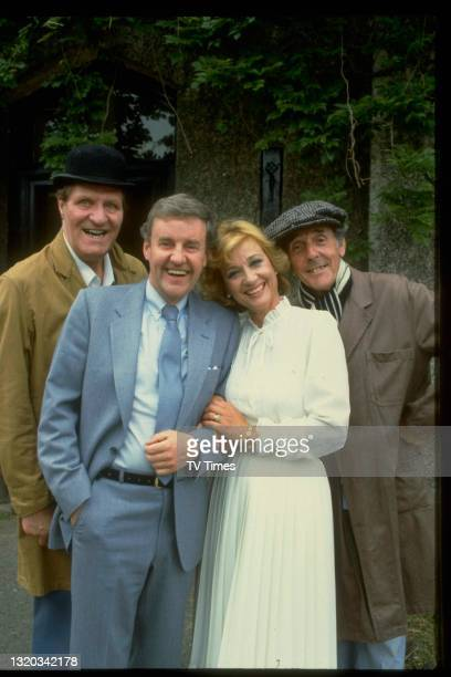 Tommy Cooper, Richard Briers, Sylvia Sims and Eric Sykes in character on the set of sitcom It's Your Move, circa 1982.