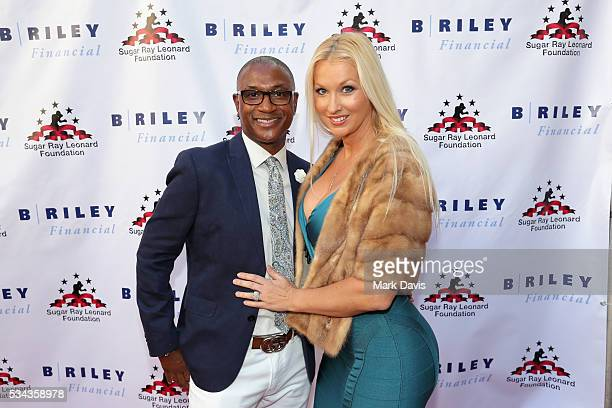 Tommy Davidson and Amanda Moore attend B Riley Co and Sugar Ray Leonard Foundation's 7th Annual Big Fighters Big Cause Charity Boxing Night at Dolby...