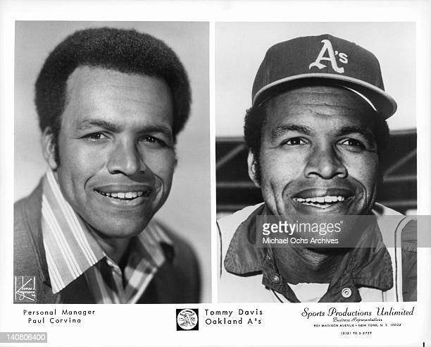 Tommy Davis from the Oakland A's in a split screen publicity photo both left and right side 1970