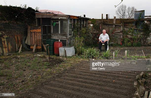 Tommy Doolan takes a break from working on his plot on the Manor Garden Allotments at the heart of the 2012 Olympic site on April 11, 2007 in London,...