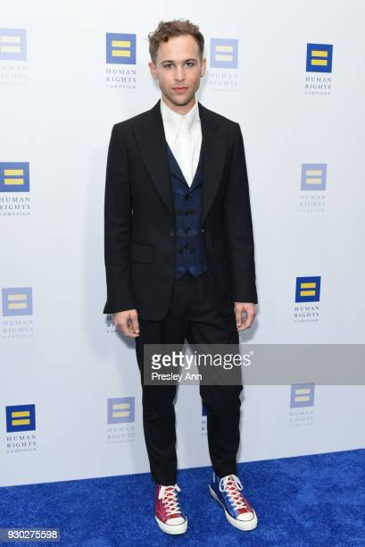 Tommy Dorfman attends Human Rights Campaign's 2018 Los Angeles Gala Dinner Arrivals at JW Marriott Los Angeles at LA LIVE on March 10 2018 in Los...