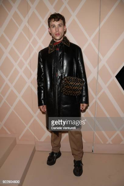 Tommy Dorfman attends the Fendi show during Milan Fashion Week Fall/Winter 2018/19 on February 22 2018 in Milan Italy