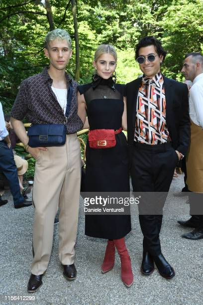 Tommy Dorfman Caroline Daur and Rob Raco attend the Fendi fashion show during the Milan Men's Fashion Week Spring/Summer 2020 on June 17 2019 in...