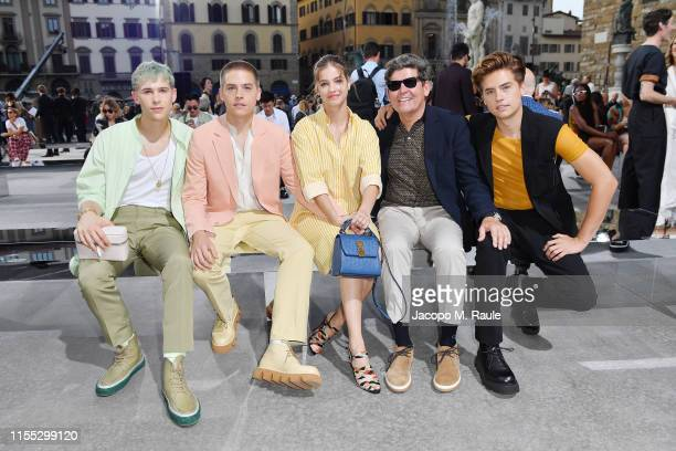 Tommy Dorfman Dylan Sprouse Barbara Palvin Matthew Sprouse and Cole Sprouse attends the Salvatore Ferragamo show during Pitti Immagine Uomo 96 on...