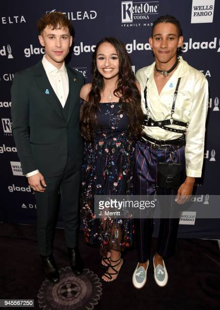 Tommy Dorfman Jazz Jennings and Keiynan Lonsdale pose backstage at the 29th Annual GLAAD Media Awards at The Beverly Hilton Hotel on April 12 2018 in...