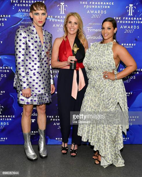 Tommy Dorfman Noreen Dodge and Dascha Polanco pose backstage at the 2017 Fragrance Foundation Awards Presented By Hearst Magazines at Alice Tully...
