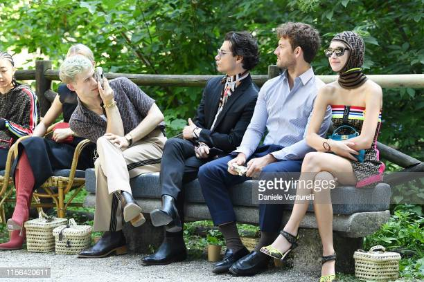Tommy Dorfman Rob Raco Alex Pettyfer and Sarah Snyder attend the Fendi fashion show during the Milan Men's Fashion Week Spring/Summer 2020 on June 17...