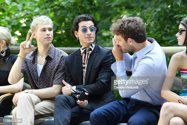 Tommy Dorfman Rob Raco and Alex Pettyfer attend the Fendi fashion show during the Milan Men's Fashion Week Spring/Summer 2020 on June 17 2019 in...