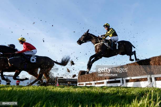 Tommy Dowling riding Frank N Fair on their way to winning The G E White Sons Agricultiral Buildings Handicap Steeple Chase at Plumpton racecourse on...