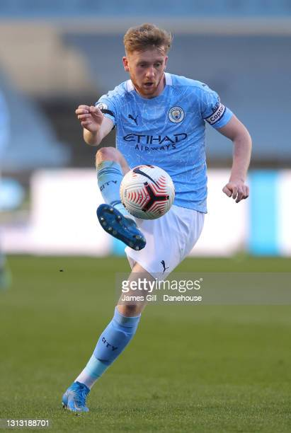 Tommy Doyle of Manchester City during the Premier League 2 match between Manchester City and Manchester United at Manchester City Football Academy on...