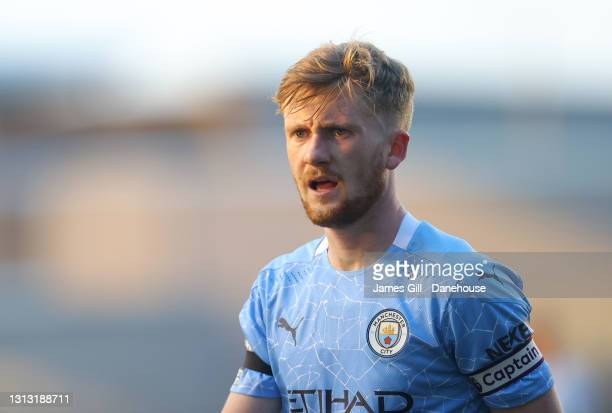 Tommy Doyle of Manchester City looks on during the Premier League 2 match between Manchester City and Manchester United at Manchester City Football...