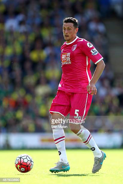 Tommy Elphick of AFC Bournemouth in action during the Barclays Premier League match between Norwich City and AFC Bournemouth at Carrow Road on...