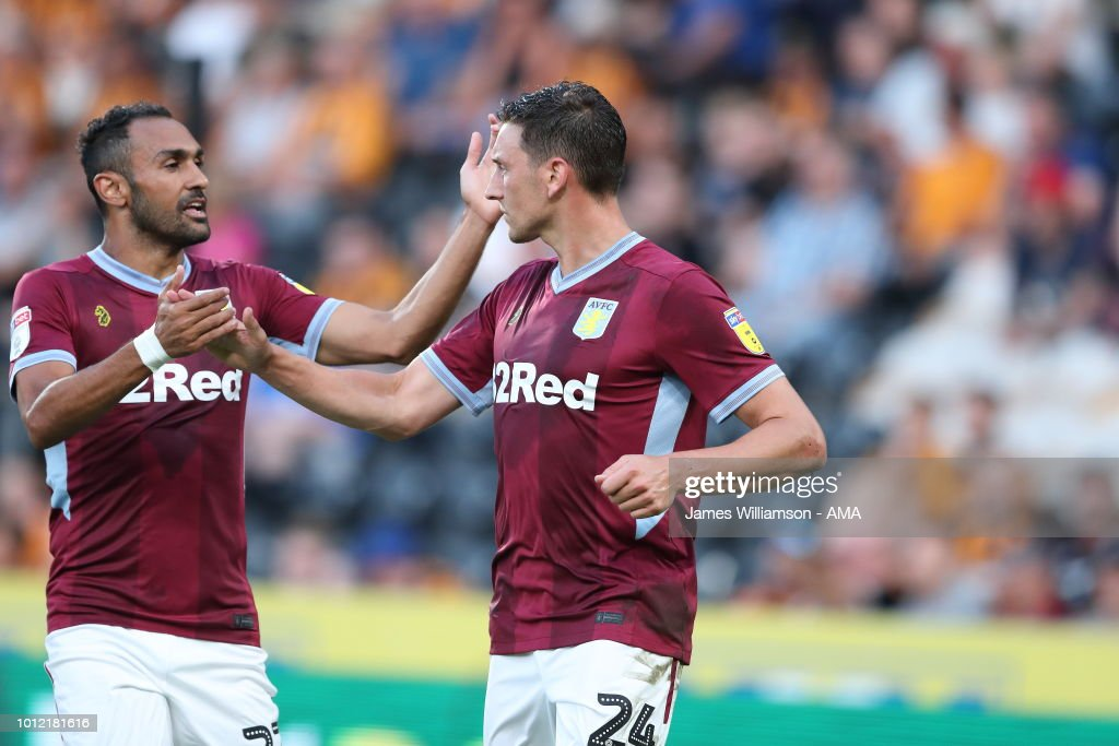 Tommy Elphick of Aston Villa celebrates after scoring a goal to make it 1-1 during the Sky Bet Championship match between Hull City and Aston Villa at KCOM Stadium on August 6, 2018 in Hull, England.