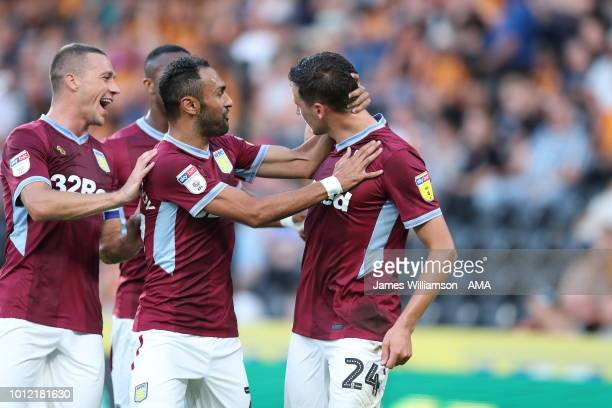 Tommy Elphick of Aston Villa celebrates after scoring a goal to make it 11 during the Sky Bet Championship match between Hull City and Aston Villa at...