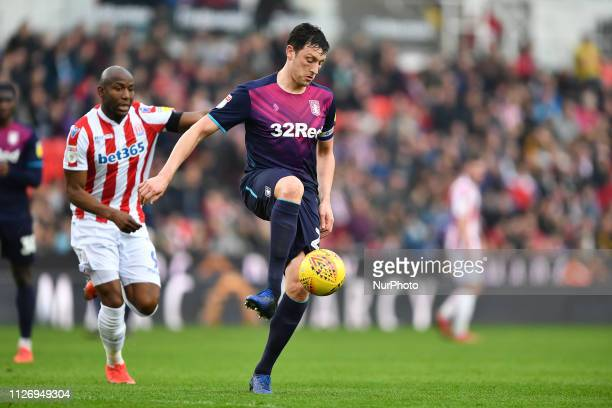 Tommy Elphick of Aston Villa during the Sky Bet Championship match between Stoke City and Aston Villa at the Britannia Stadium StokeonTrent on...