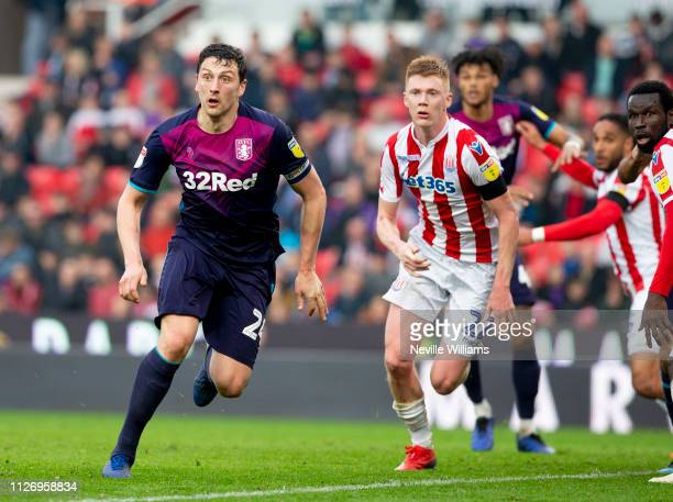 Tommy Elphick of Aston Villa during the Sky Bet Championship match between Stoke City and Aston Villa at the Bet365 Stadium on February 23 2019 in...