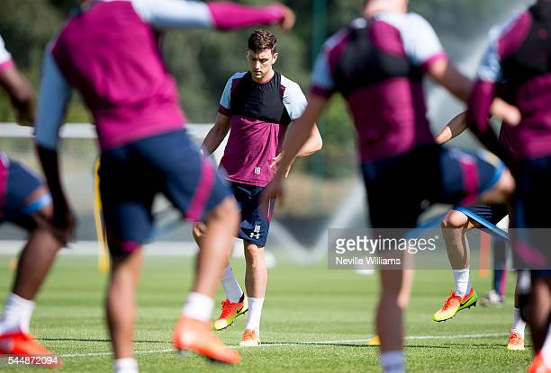 Tommy Elphick of Aston Villa in action during a Aston Villa training session at the club's training ground at Bodymoor Heath on July 04 2016 in...