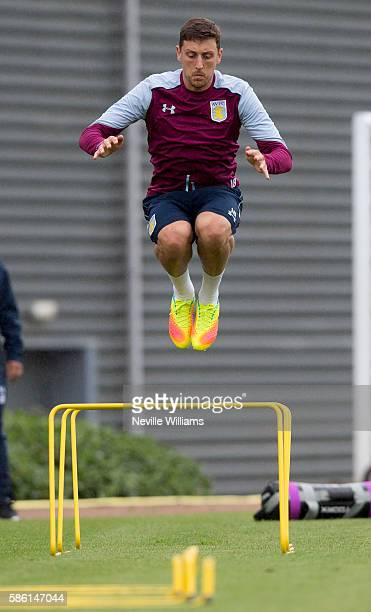 Tommy Elphick of Aston Villa in action during a Aston Villa training session at the club's training ground at Bodymoor Heath on August 05 2016 in...
