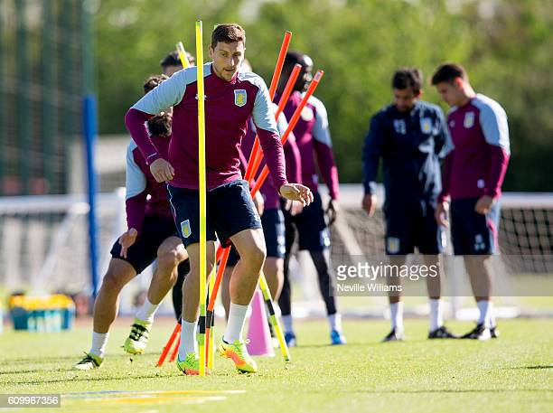 Tommy Elphick of Aston Villa in action during a Aston Villa training session at the club's training ground at Bodymoor Heath on September 23 2016 in...