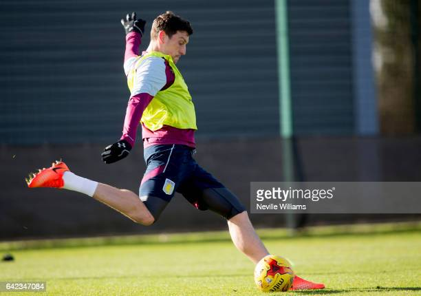 Tommy Elphick of Aston Villa in action during a Aston Villa training session at the club's training ground at Bodymoor Heath on February 17 2017 in...