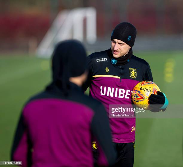 Tommy Elphick of Aston Villa in action during a training session at Bodymoor Heath training ground on January 31 2019 in Birmingham England