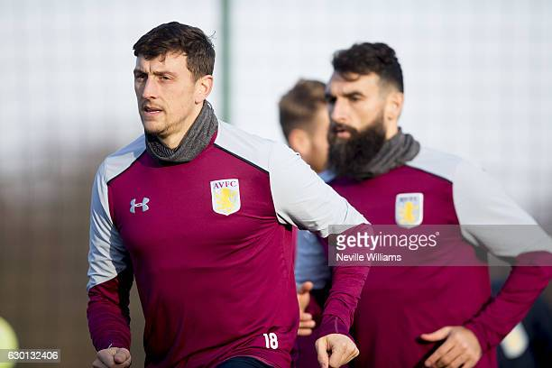 Tommy Elphick of Aston Villa in action during an Aston Villa training session at the club's training ground at Bodymoor Heath on December 16 2016 in...