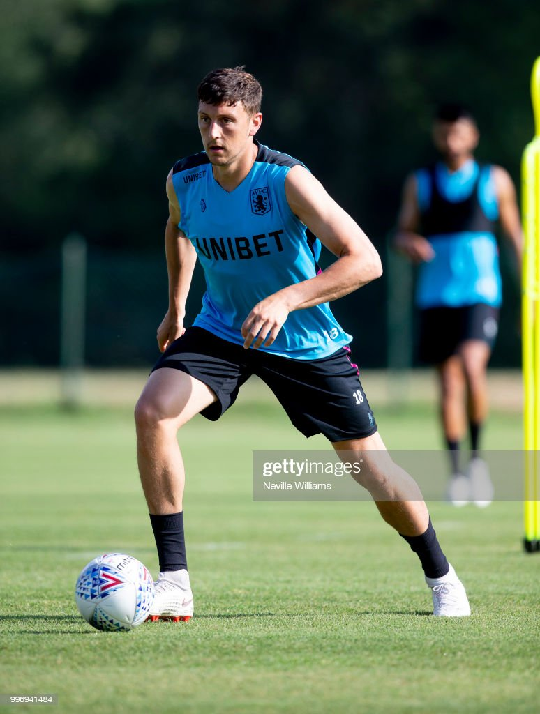 Tommy Elphick of Aston Villa in action during an Aston Villa training session at the club's training camp on July 12, 2018 in Faro, Portugal.