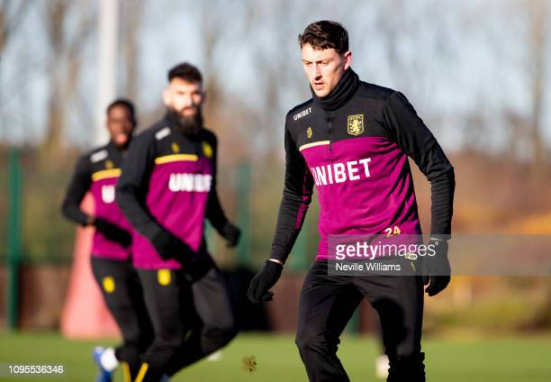Tommy Elphick of Aston Villa in action during training session at Bodymoor Heath training ground on January 17 2019 in Birmingham England