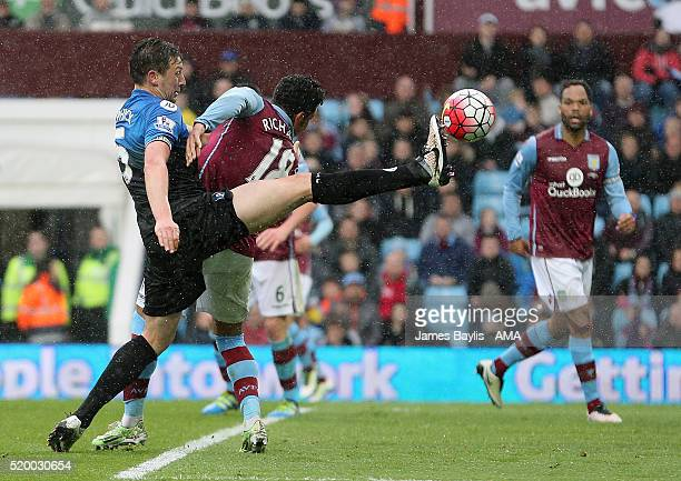 Tommy Elphick of Bournemouth and Kieran Richardson of Aston Villa during the Barclays Premier League match between Aston Villa and AFC Bournemouth at...