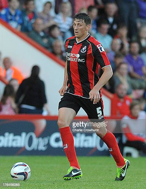 Tommy Elphick of Bournemouth attacks during the Capital One Cup First Round match between AFC Bournemouth and Portsmouth at The Goldsands Stadium on...