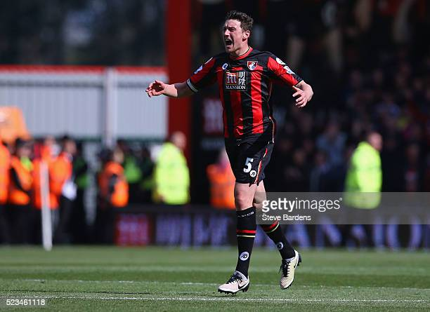 Tommy Elphick of Bournemouth celebrates after scoring his sides first goal during the Barclays Premier League match between AFC Bournemouth and...