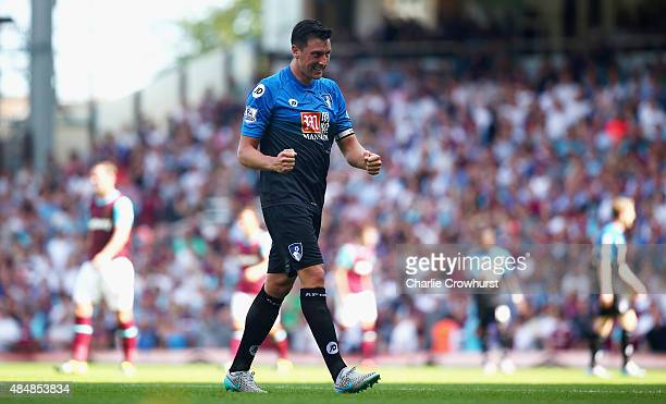 Tommy Elphick of Bournemouth celebrates his team's goal during the Barclays Premier League match between West Ham United and AFC Bournemouth at the...