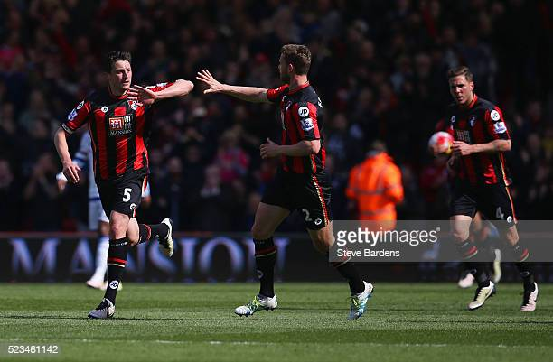 Tommy Elphick of Bournemouth celebrates with Simon Francis of Bournemouth after scoring his sides first goal during the Barclays Premier League match...
