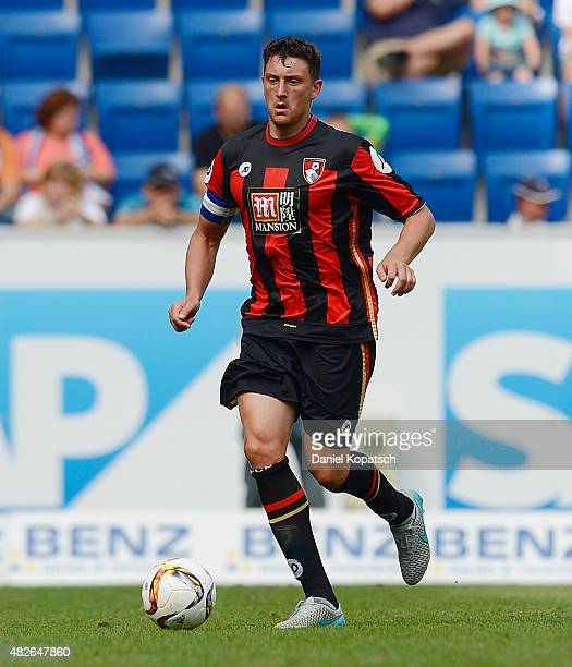 Tommy Elphick of Bournemouth controls the ball during the friendly match between 1899 Hoffenheim and AFC Bournemouth at Wirsol RheinNeckarArena on...