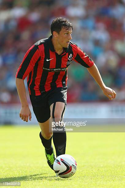 Tommy Elphick of Bournemouth during the Pre Season Friendly match between Bournemouth and West Ham United at Goldsands Stadium on July 13 2013 in...