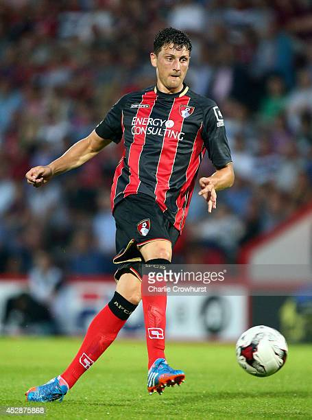 Tommy Elphick of Bournemouth during the Pre Season Friendly match between AFC Bournemouth and Southampton at The Goldsands Stadium on July 25 2014 in...