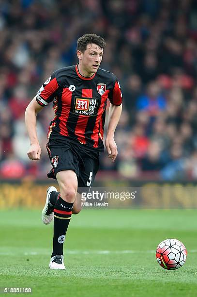Tommy Elphick of Bournemouth in action during the Barclays Premier League match between AFC Bournemouth and Manchester City at Vitality Stadium on...