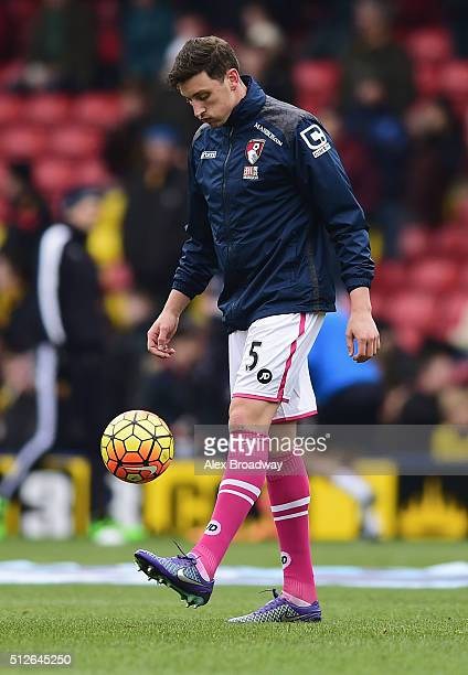 Tommy Elphick of Bournemouth warms up prior to the Barclays Premier League match between Watford and AFC Bournemouth at Vicarage Road on February 27...